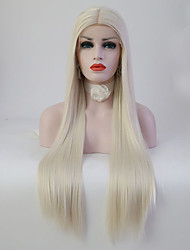 cheap -Women Synthetic Wig Lace Front Medium Length Long Straight Platinum Blonde Middle Part Sew in Natural Wigs Costume Wig
