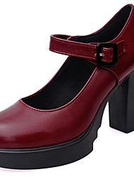 Недорогие -Жен. Обувь Резина Весна / Лето Удобная обувь Обувь на каблуках Для прогулок Круглый носок Пряжки Черный / Вино