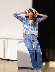 cheap -Women's Daily Cute Shirt,Check Shirt Collar Long Sleeves Cotton