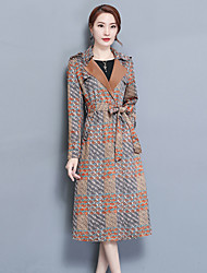 Women's Going out Street chic Fall Trench Coat,Print Peter Pan Collar Long Sleeve Long Polyester
