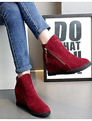 cheap -Women's Shoes Nubuck leather Cowhide Fall Winter Fashion Boots Boots Chunky Heel Booties/Ankle Boots For Casual Red Gray Black