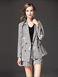 Women's Going out Casual/Daily Street chic Fall Winter Blazer,Houndstooth Notch Lapel Long Sleeve Regular Others