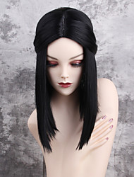 Women Synthetic Wig Capless Medium Length Straight Black Middle Part Natural Wigs Costume Wig