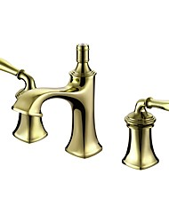 cheap -Classic Style Luxury Widespread High Quality Brass Valve Two Handles Three Holes Ti-PVD , Bathroom Sink Faucet