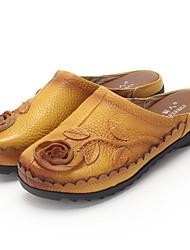 Femme Chaussures Cuir Printemps Automne Confort Sabot & Mules Pour Décontracté Noir Gris Jaune