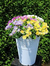 4 ramas de flores plásticas de simulación crisantemo bifurcada de 25cm6