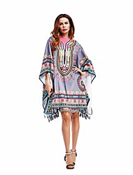 cheap -Women's Club Sexy Tunic Dress,Geometric Round Neck Above Knee Half Sleeves Silk Summer High Rise Micro-elastic Thin