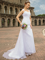 cheap -Mermaid / Trumpet Strapless Sweep / Brush Train Chiffon Lace Custom Wedding Dresses with Lace by LAN TING BRIDE®