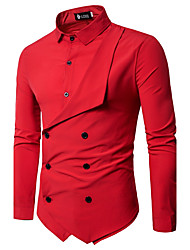 Men's Party Art Deco / Retro Casual/Sporty All Seasons Shirt,Solid Shirt Collar Long Sleeves Acrylic Polyester 120D