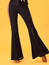 Danse latine Bas Femme Spectacle Soie Glacée Dentelle Taille haute Pantalon