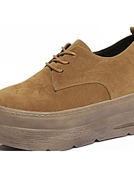 cheap -Women's Shoes PU Spring Fall Comfort Sneakers Creepers For Casual Office & Career Khaki Light Brown Black