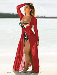 Недорогие -Для женщин На каждый день Оболочка Платье Однотонный,V-образный вырез Макси Длинный рукав Полиэстер Лето Осень Со стандартной талией