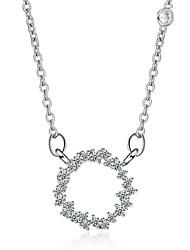 cheap -Women's Round Fashion Elegant Pendant Necklace Rhinestone Rhinestone Alloy Pendant Necklace , Wedding Daily
