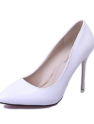 cheap -Women's Shoes Glitter / Leather Spring / Fall Comfort Heels Pointed Toe Sparkling Glitter for Dress White / Black / Pink