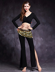 cheap -Shall We Belly Dance Outfits Women's Training Modal Spandex Long Sleeve Dropped Tops Pants Waist Accessory