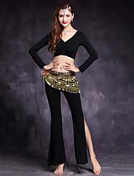 baratos -Dança do Ventre Roupa Mulheres Treino Modal Elastano Manga Longa Caído Blusa Calças Acessórios de Cintura
