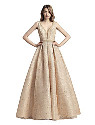 cheap -A-Line V-neck Court Train Lace Prom Formal Evening Dress with Beading Lace by Sarahbridal