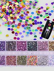 preiswerte -12 farben / box nail art bunte mini runde diy glisten dekoration glänzende paillette 3d glitter pailletten maniküre zubehör