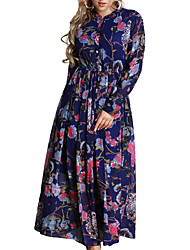 abordables -Femme Ample Robe - Imprimé Taille Basse Maxi