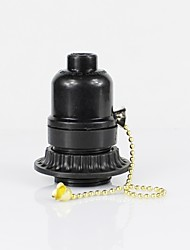 cheap -E26 Black Plastic Half Tooth Screw Mouth With Outer Ring Zipper Switch Lamp Holder