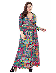 cheap -Women's Plus Size Going out Sophisticated Boho Loose Sheath Swing Dress - Floral Geometric Paisley Cut Out High Rise Maxi V Neck