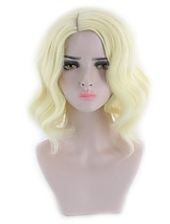 Women Synthetic Wig Capless Short Wavy Natural Wave Body Wave Blonde Party Wig Halloween Wig Natural Wigs Costume Wig