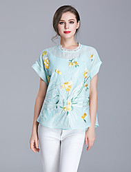 cheap -Women's Daily Sophisticated Shirt,Embroidery Round Neck Short Sleeves Cotton