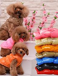 abordables -Gato Perro Chaleco Navidad Ropa para Perro Un Color Negro Marrón Rojo Azul Algodón Disfraz Para mascotas Casual/Diario Mantiene abrigado