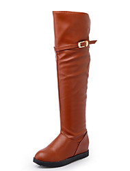 Women's Shoes PU Fall Winter Fashion Boots Boots Low Heel Pointed Toe Thigh-high Boots Over The Knee Boots Buckle For Casual Dress Brown