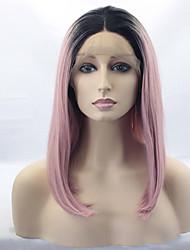 baratos -Perucas sintéticas Mulheres Liso Rosa Corte Bob Cabelo Sintético Cabelo Ombre / Raízes Escuras / Repartida ao Meio Rosa Peruca Médio Frente de Malha Preto / Rosa