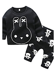 cheap -Baby Boys' Daily Print Clothing Set, Cotton Autumn/Fall Outfits Long Sleeves Black