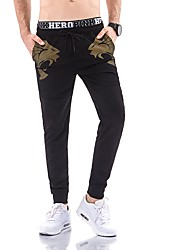 cheap -Men's Mid Rise Micro-elastic Harem Slim Chinos Sweatpants Pants,Trousers Embroidered Winter Fall