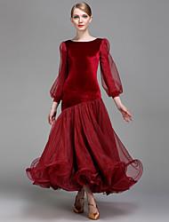 Danse de Salon Femme Spectacle Velours Georgette Manche longue Taille moyenne Robe