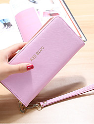 cheap -Women Bags PU Wallet Zipper for Shopping Office & Career All Seasons Blue Black Blushing Pink Purple