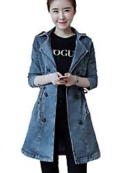 cheap -Women's Daily Street chic Winter Fall Denim Jacket,Print Shirt Collar Long Sleeve Long Cotton Polyester