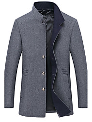 cheap -Men's Daily Plus Size Simple Casual Winter Fall Pea Coat,Solid Stand Long Sleeve Regular Cotton Polyester
