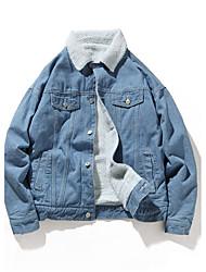 cheap -Men's Vintage Plus Size Denim Jacket - Solid, Mesh Oversized