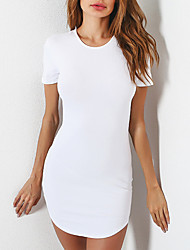 cheap -Women's Daily Plus Size Sheath Dress,Solid Round Neck Mini Short Sleeves Polyester Summer Fall Mid Rise Micro-elastic Medium
