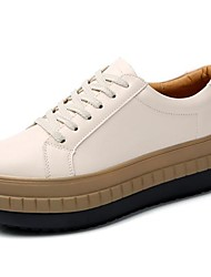 cheap -Women's Shoes Nappa Leather Fall Winter Comfort Sneakers Swing Shoes Creepers Lace-up For Casual Dress Brown Beige Black