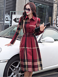 Women's Casual/Daily A Line Dress,Print Shirt Collar Knee-length Long Sleeves Cotton Fall Mid Rise Micro-elastic Medium