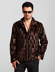 cheap -Men's Punk & Gothic Plus Size Faux Fur Fur Coat - Geometric Shirt Collar