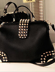 cheap -Women Bags PU leatherette Tote Buttons Zipper for Casual Summer All Seasons Black