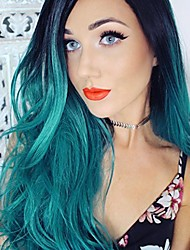 cheap -Women Synthetic Wig Lace Front Long Wavy Black/Green Ombre Hair Dark Roots Bob Haircut Party Wig Halloween Wig Natural Wigs Costume Wig