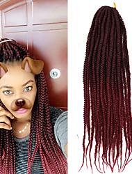 cheap -1 Pack Box Braids Crochet  Ombre Braiding Hair Synthetic Hair Black/Purple Black/Blue Medium Brown Strawberry Blonde/Light