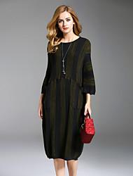 Ample Robe Femme Sortie Décontracté / Quotidien simple,Rayé Col Arrondi Midi Manches Longues Rayonne Polyester Nylon Automne Hiver Taille