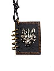 cheap -Men's Women's Locket Wolf Shape Vintage DIY Pendant Necklace Wood Alloy Pendant Necklace Party Gift