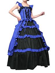 Un Pezzo/Vestiti Gotico Lolita Cosplay Vestiti Lolita Blu Vintage Ad aletta Senza maniche Raso terra Abito Per Altro