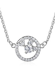 cheap -Women's Circle Fashion Pendant Necklace Diamond Sterling Silver Pendant Necklace , Gift Daily
