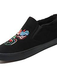 baratos -Homens sapatos Flanelado Inverno Conforto Tênis Preto / Arco-íris / Khaki