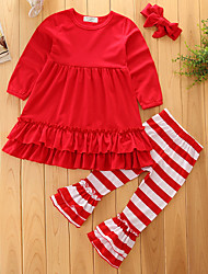 cheap -Girls' Solid Striped Stripe Clothing Set, Cotton Polyester Spring Fall Long Sleeves Party/Evening Stylish Bohemian Style Retro / Vintage